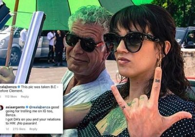 a0f3dfea9313 Asia Argento posts never-before-seen photo of Anthony Bourdain and herself  taken just before his death – and is trolled for kissing another man a few  days ...